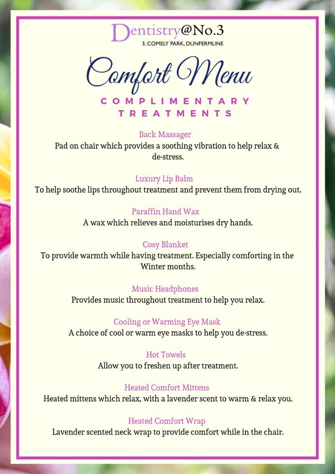 comfort menu